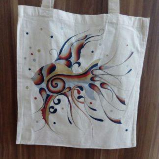 malovaná bavlněná taška
