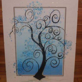 malované sklo stromy