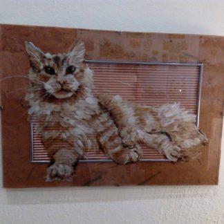 malovaná kočka na skle