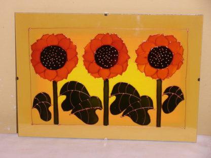 malované slunečnice na skle