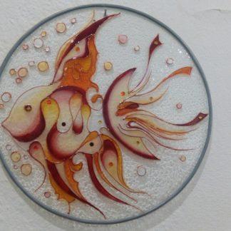 skleněný závěs malovaný